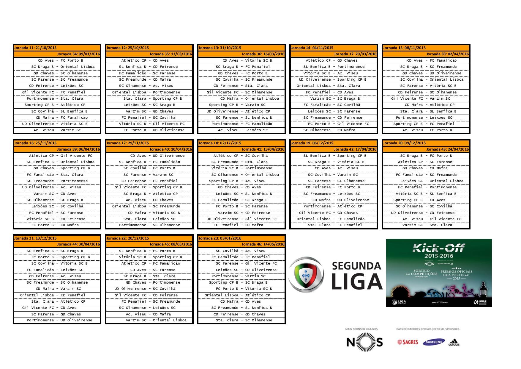 Calendario Primeira Liga.Felsebiyat Dergisi Popular Segunda Liga Portuguesa Calendario