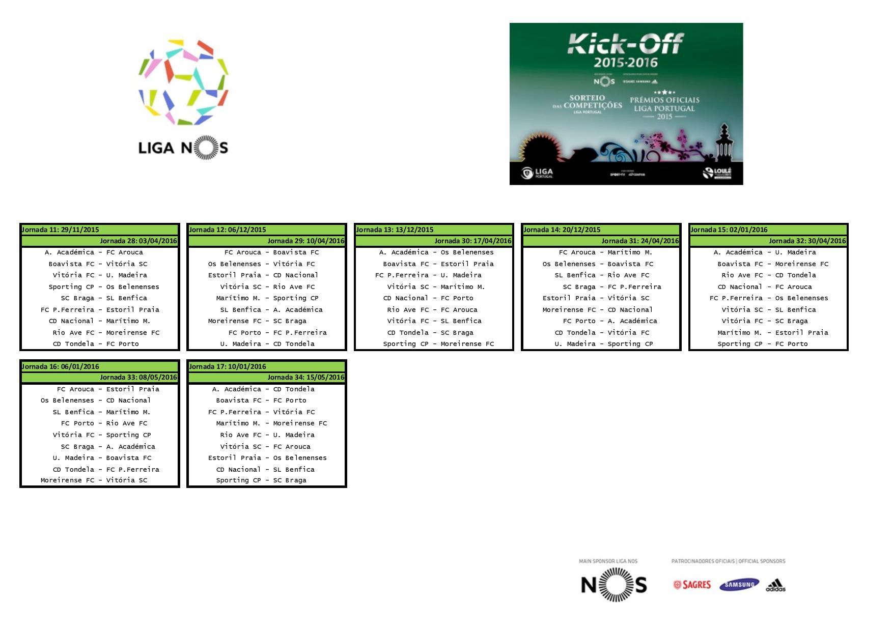 Calendario Primeira Liga.Calendario Da Primeira Liga Golpe De Vista